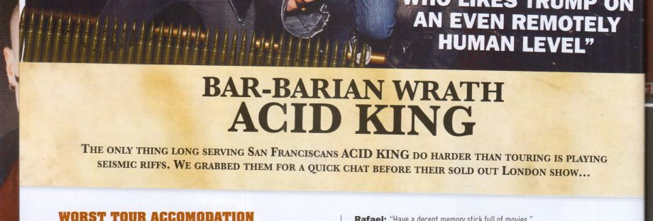 Bar Rant with Acid King in Terrorizer's  November 2017 Issue